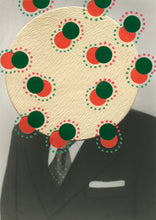 Load image into Gallery viewer, Red Green Abstract Collage On Vintage Photography Portrait - Naomi Vona Art