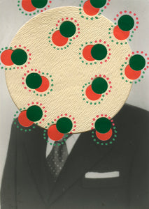 Red Green Abstract Collage On Vintage Photography Portrait - Naomi Vona Art