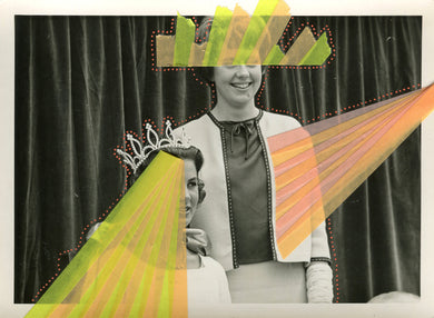 Vintage Beauty Contest Portrait Photography Altered With Neon Washi Tape - Naomi Vona Art