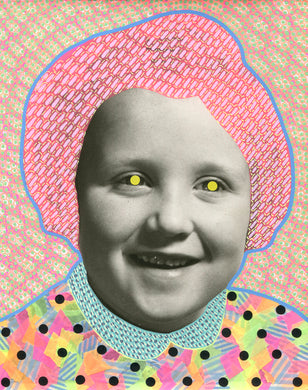 Neon Art Collage Composition On Vintage Baby Girl Portrait - Naomi Vona Art