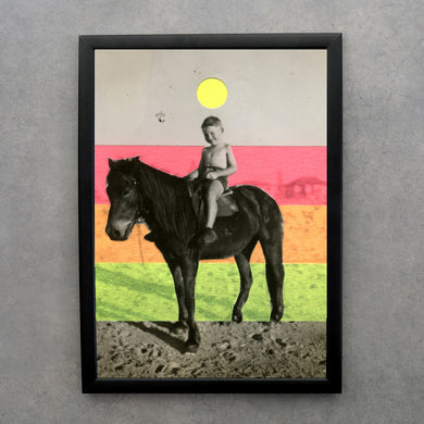 Altered Vintage Child's Riding Horse Portrait Decorated With Neon Washi Tape - Naomi Vona Art