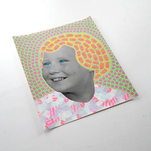 Smiling Vintage Girl Manipulated With Pens And Washi Tape - Naomi Vona Art