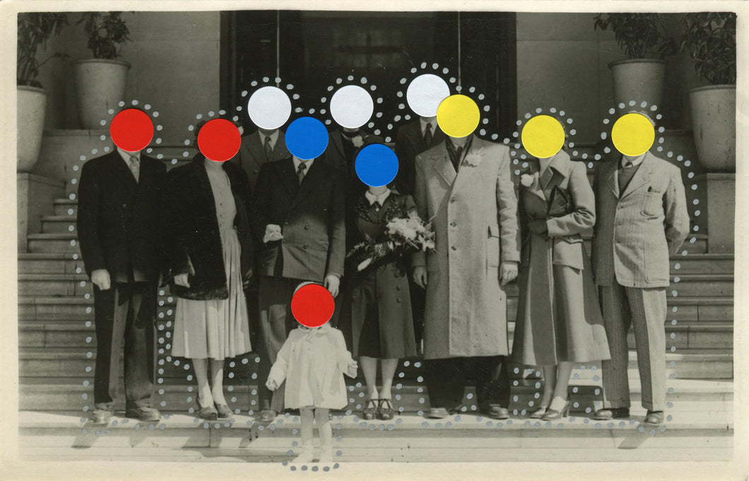 Dotted Art Collage Composition On Vintage Group Shot - Naomi Vona Art