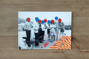 Red Blue Dotty Decoration Art Collage On Vintage Group Shot - Naomi Vona Art