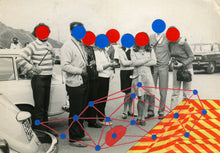 Load image into Gallery viewer, Red Blue Dotty Decoration Art Collage On Vintage Group Shot - Naomi Vona Art