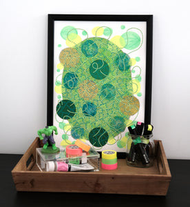 Neon Green And Yellow Abstract Organic Composition - Naomi Vona Art