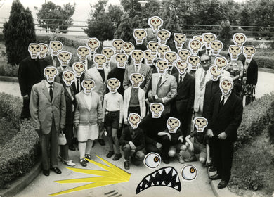 Creepy Shining Inspired Art Collage On Vintage Group Photo - Naomi Vona Art