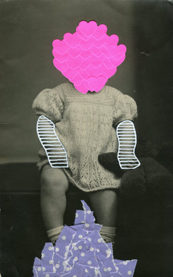 Neon Pink And Lilac Art Collage On Vintage Baby Girl Photography - Naomi Vona Art