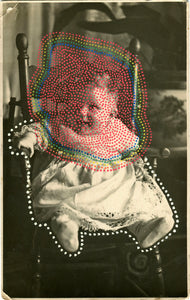 Dotty Art Collage On Vintage Baby Portrait - Naomi Vona Art