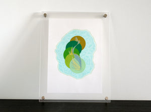 Mint Green Abstract Art Collage Composition - Naomi Vona Art