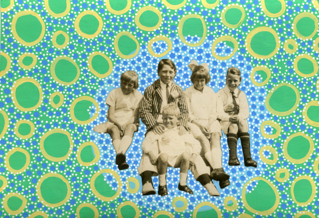 Vintage Group Of Smiling Kids Portrait Altered By Hand - Naomi Vona Art