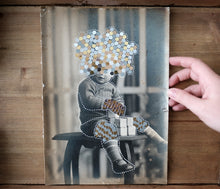 Load image into Gallery viewer, Altered Vintage Black And White Baby Boy Studio Portrait Manipulated With Stickers - Naomi Vona Art