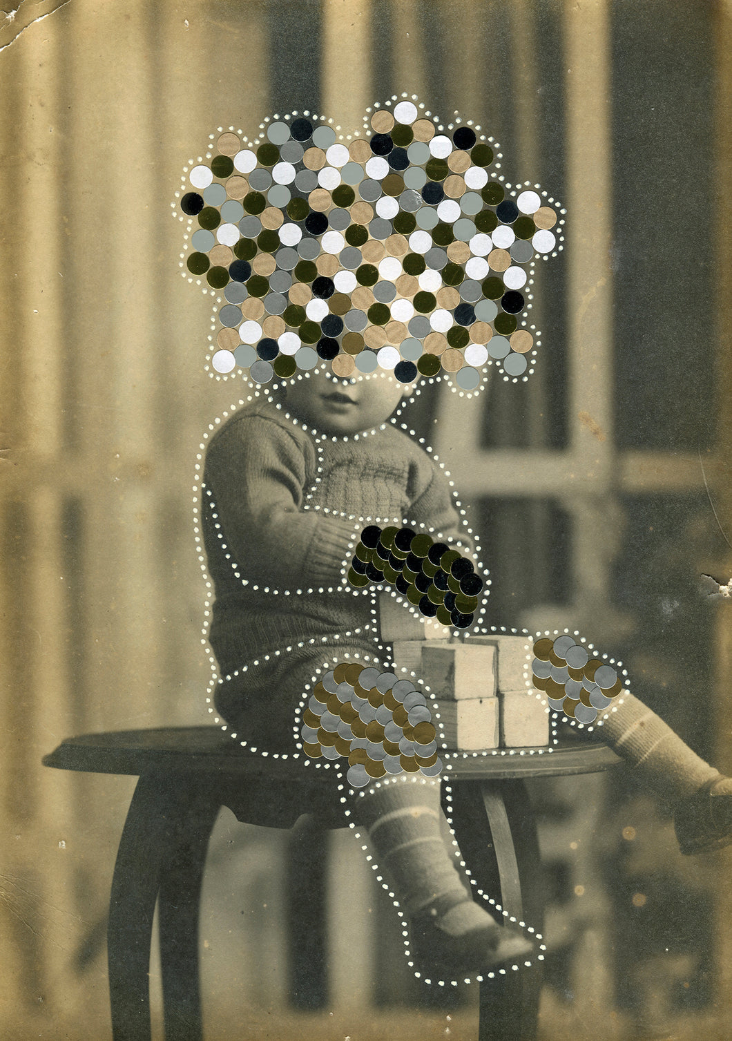 Altered Vintage Black And White Baby Boy Studio Portrait Manipulated With Stickers - Naomi Vona Art