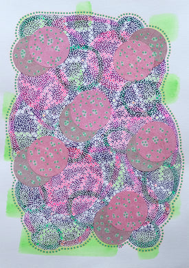 Neon Pink, Green And White Abstract Collage Art - Naomi Vona Art