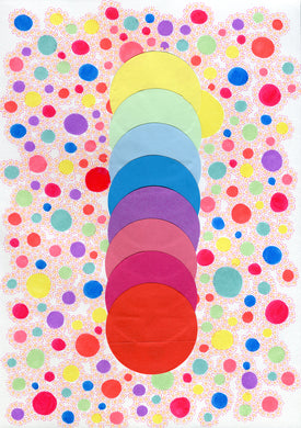 Dotted Rainbow Abstract Art Collage Composition - Naomi Vona Art