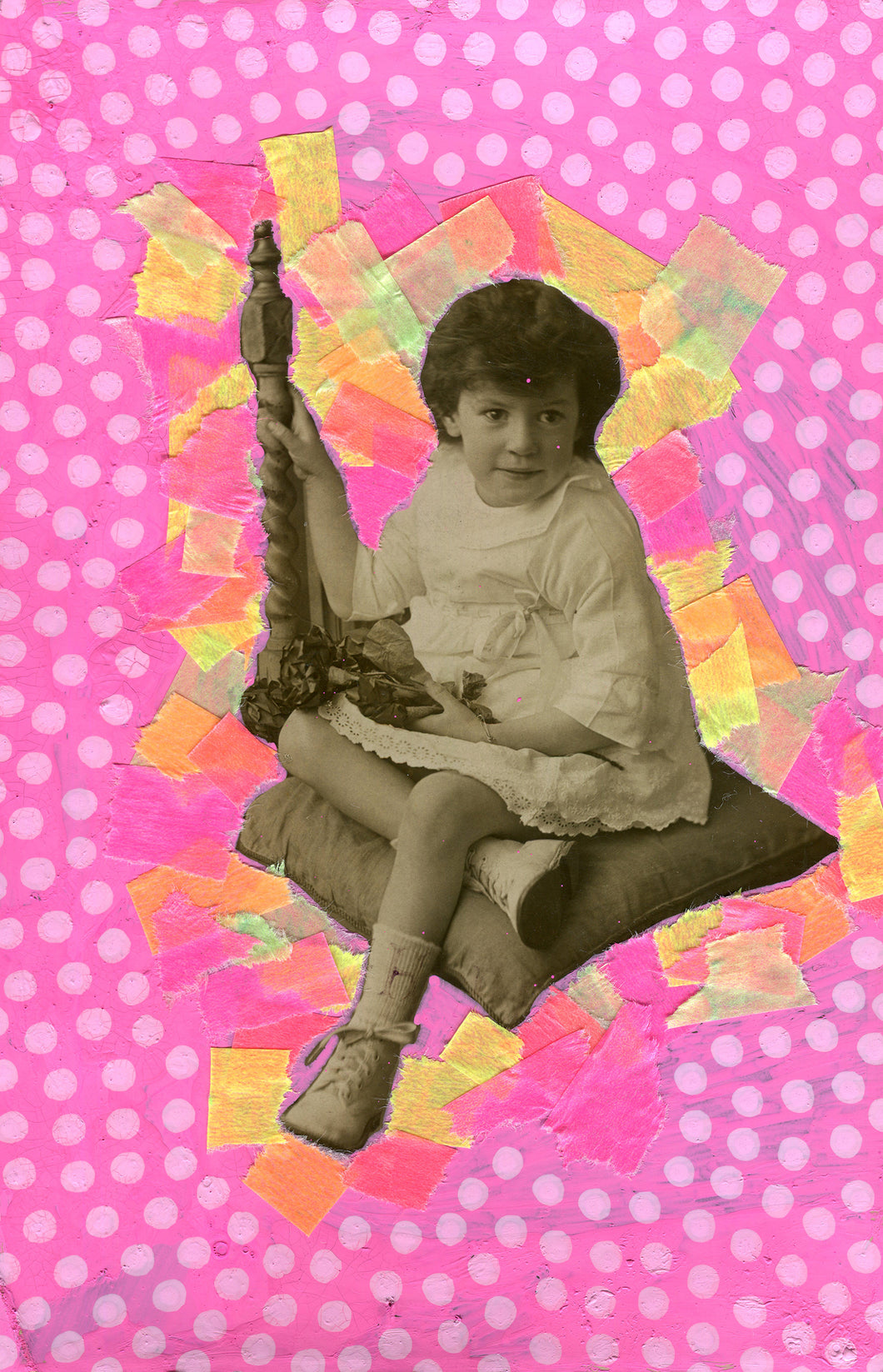Neon Pink Vintage Baby Girl Art Collage - Naomi Vona Art