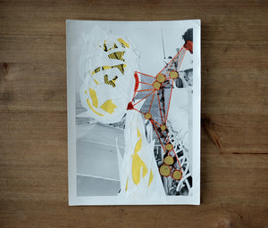 White Yellow Red Contemporary Art Collage On Vintage Photo - Naomi Vona Art