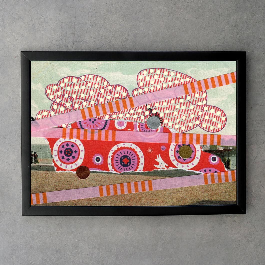 Red Pink Fine Art Print Of Retro Vintage Postcard Collage - Naomi Vona Art