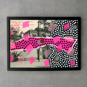 Neon Pink, Black And White Print Art Collage - Naomi Vona Art