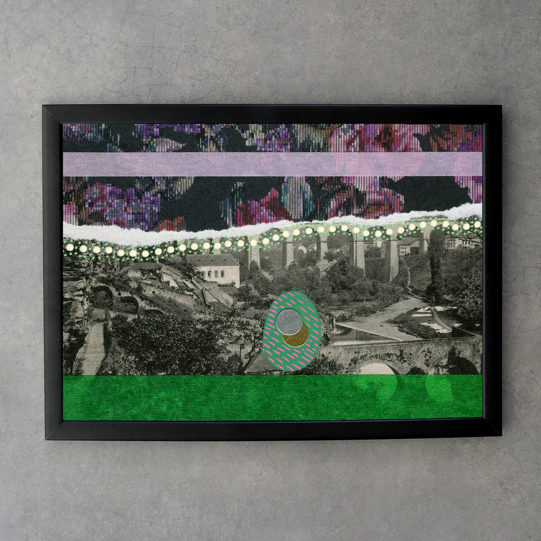 Floral Abstraction Art Print Of Retro Vintage Landscape Portrait - Naomi Vona Art