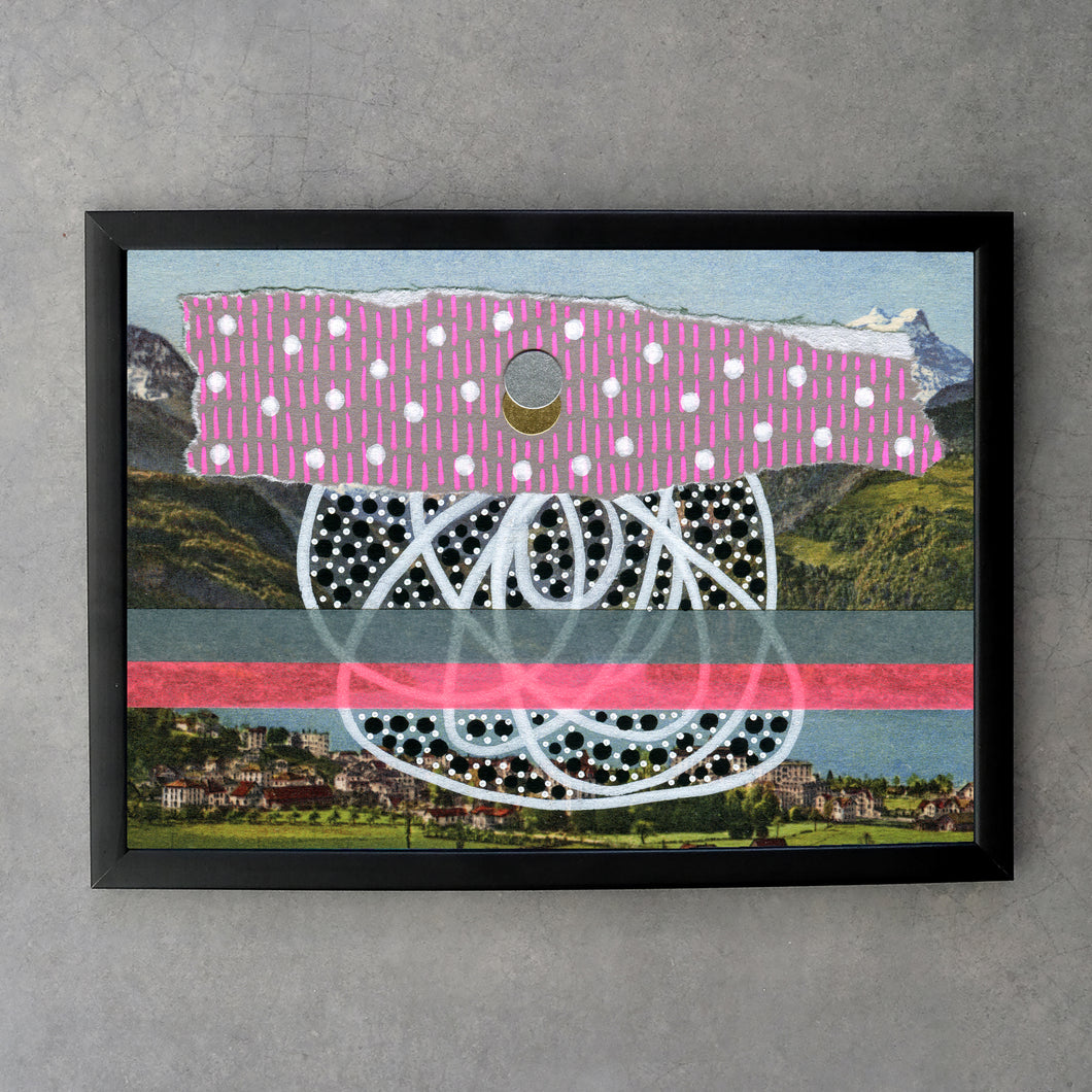 Black Grey And Pink Abstract Fine Art Print On Vintage Landscape - Naomi Vona Art