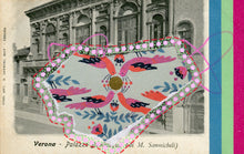 Load image into Gallery viewer, Vintage Verona Bevilacqua Palace Postcard Collage Art - Naomi Vona Art