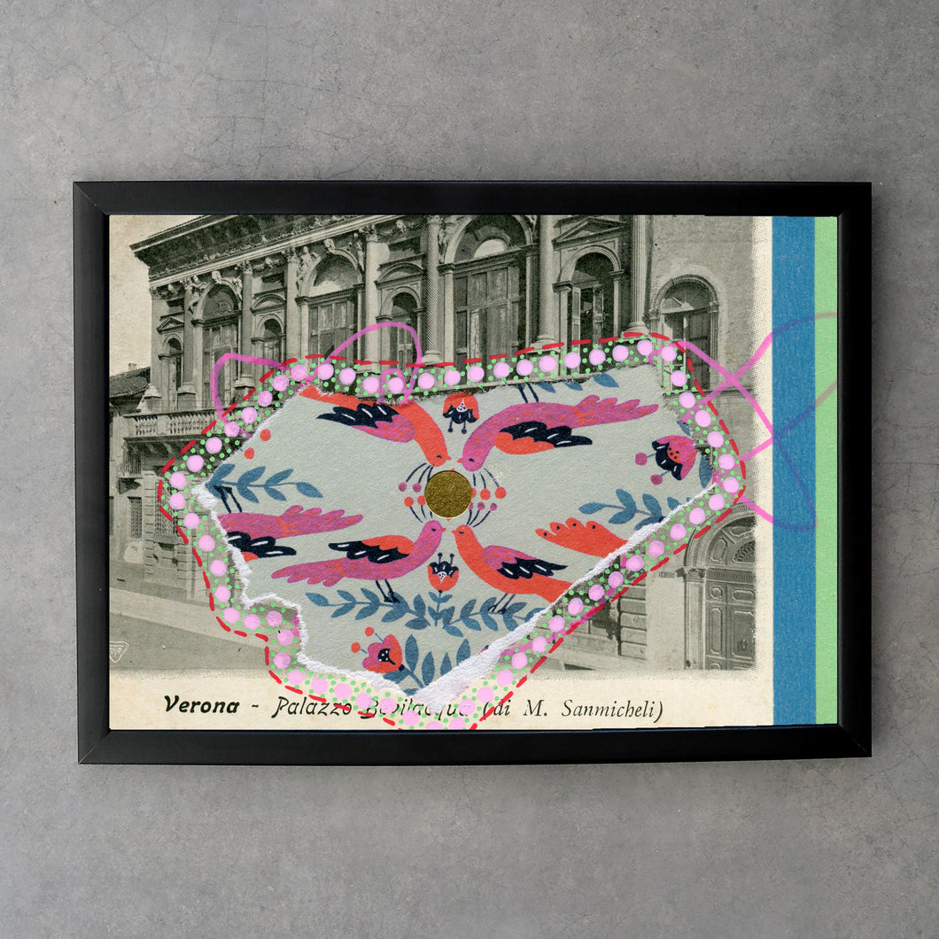 Fine Art Print Of Vintage Verona City Postcard - Naomi Vona Art