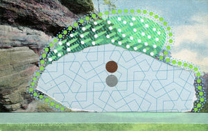 Bridgnorth Hermitage Caves Postcard Collage Art - Naomi Vona Art
