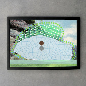 Mint Green And Baby Blue Abstract Fine Art Print On Retro Landscape Photo - Naomi Vona Art