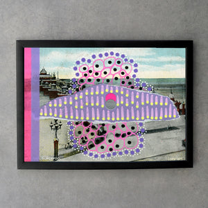 Pink Purple Fine Art Print Of Abstract Collage On Vintage Postcard - Naomi Vona Art