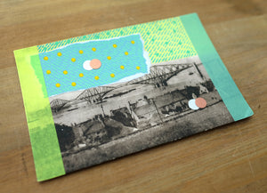 Retro Rural Area Postcard Art Collage - Naomi Vona Art