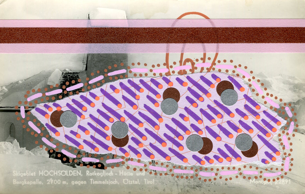 Brown, Pink And Purple Vintage Altered Postcard - Naomi Vona Art