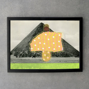 Egypt Pyramid Retro Postcard Altered By Hand - Naomi Vona Art