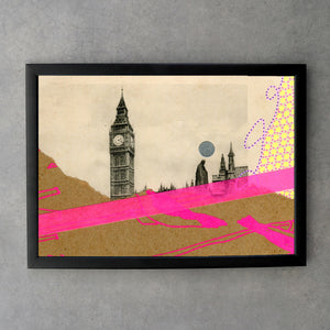Vintage London Postcard Altered By Hand - Naomi Vona Art
