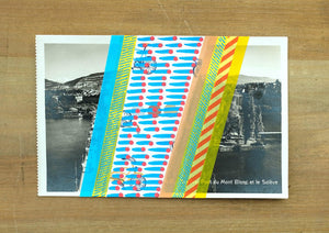 Abstract Collage Art On Vintage Lakeview Postcard - Naomi Vona Art