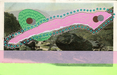 Abstract Art Collage On Vintage Landscape Postcard - Naomi Vona Art