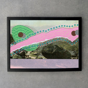 Baby Pink And Min Green Abstraction On Vintage Landscape Postcard - Naomi Vona Art
