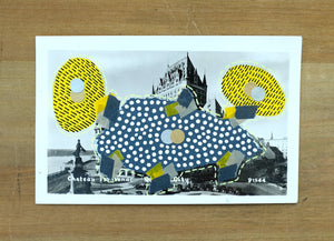 Grey Yellow Abstract Mixed Media Collage Over A Vintage Postcard - Naomi Vona Art