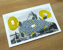 Load image into Gallery viewer, Grey Yellow Abstract Mixed Media Collage Over A Vintage Postcard - Naomi Vona Art