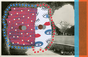 Red And Blue Collage Composition Over A Vintage Mountain View Postcard - Naomi Vona Art