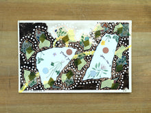 Carica l'immagine nel visualizzatore di Gallery, Green Abstract Collage On Vintage Postcard - Naomi Vona Art