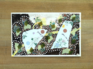 Green Abstract Collage On Vintage Postcard - Naomi Vona Art