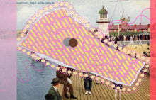 Load image into Gallery viewer, Pastel Pink And Yellow Abstract Collage On Vintage Postcard - Naomi Vona Art