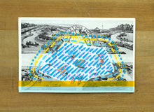 Load image into Gallery viewer, Turquoise Yellow Art Collage On Vintage Postcard - Naomi Vona Art
