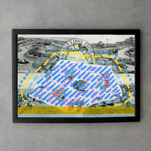 Postcard Print Altered With Yellow And Turquoise Colours - Naomi Vona Art