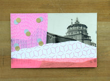 Load image into Gallery viewer, Neon Pink Art Collage On Vintage Cathedral Postcard - Naomi Vona Art