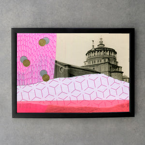 Neon Pink And Red Architecture Abstract Art Print - Naomi Vona Art