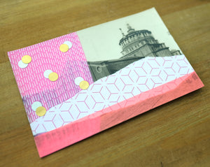 Neon Pink Art Collage On Vintage Cathedral Postcard - Naomi Vona Art
