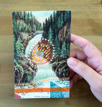 Load image into Gallery viewer, Vintage Landscape Illustration Postcard Altered With Pens And Washi Tape - Naomi Vona Art