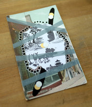 Load image into Gallery viewer, White, Black And Grey Abstract Art Collage On Vintage Postcard - Naomi Vona Art